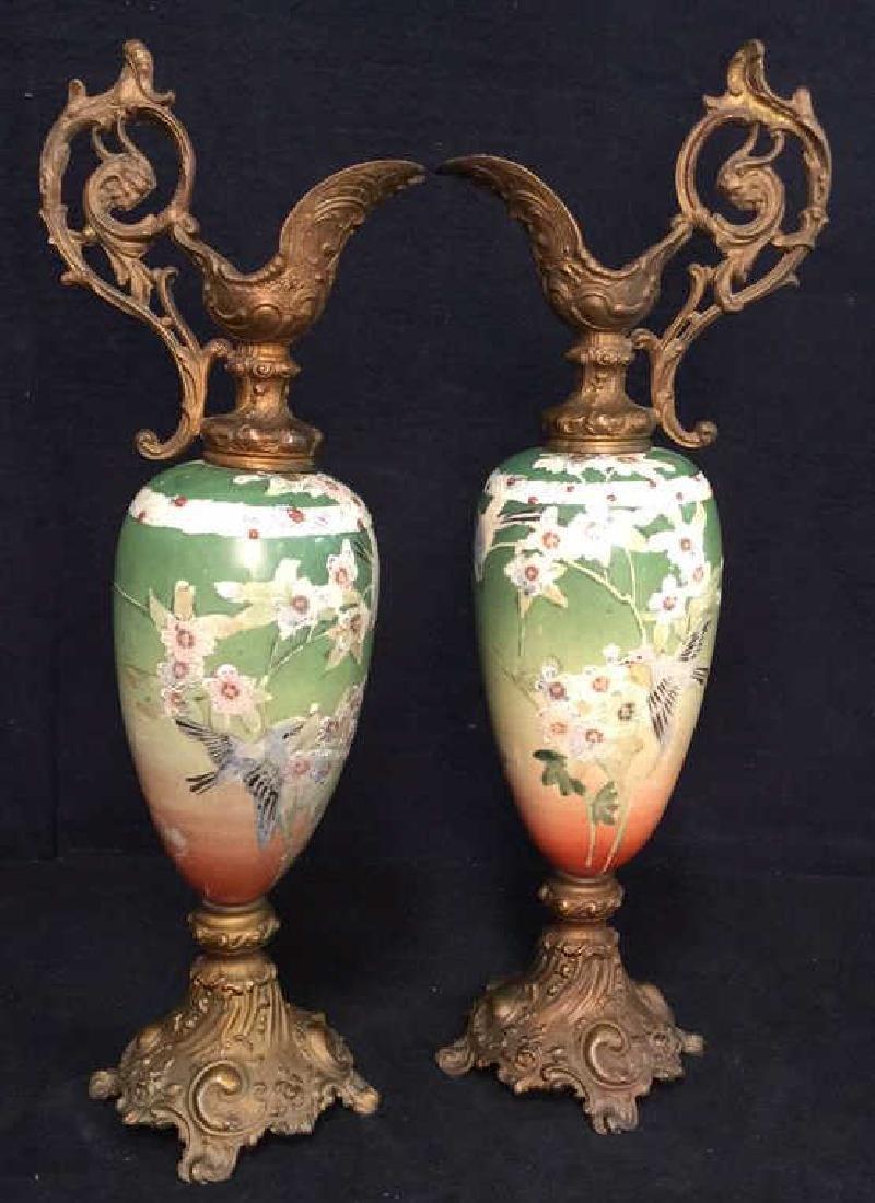Pair Antique Satsuma Victorian Urns C1890
