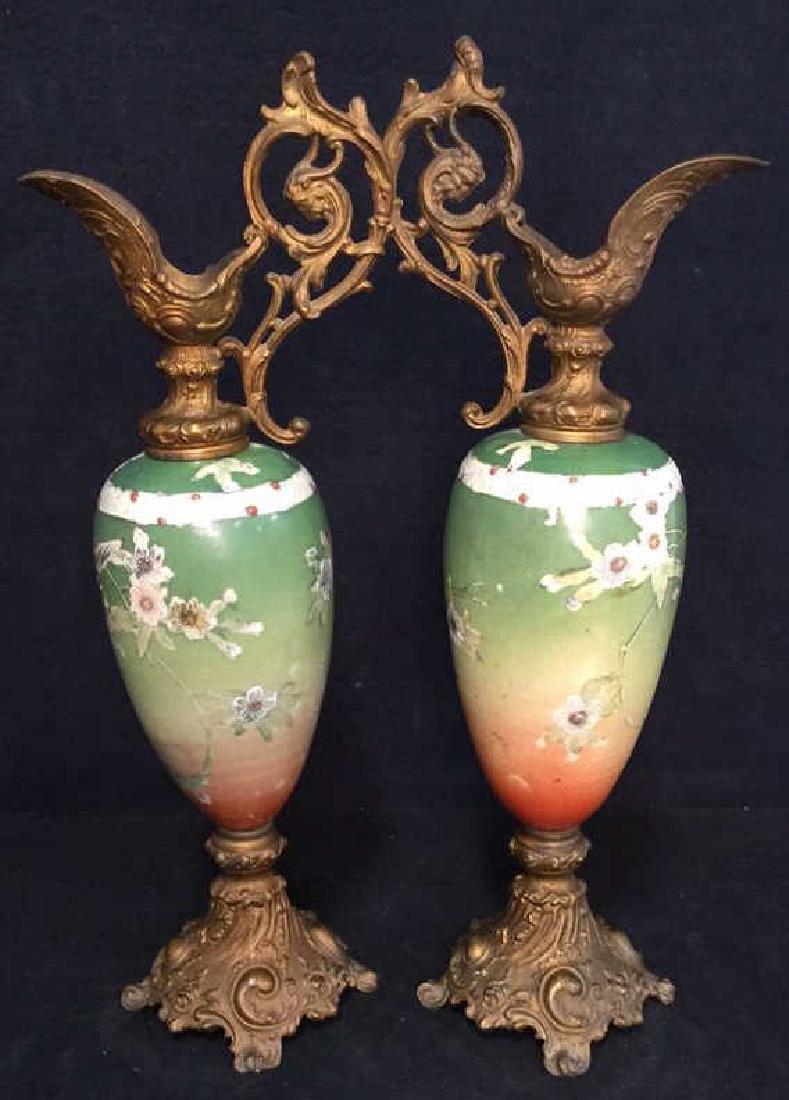 Pair Antique Satsuma Victorian Urns C1890 - 3