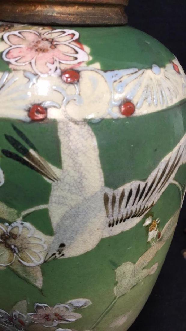 Pair Antique Satsuma Victorian Urns C1890 - 6