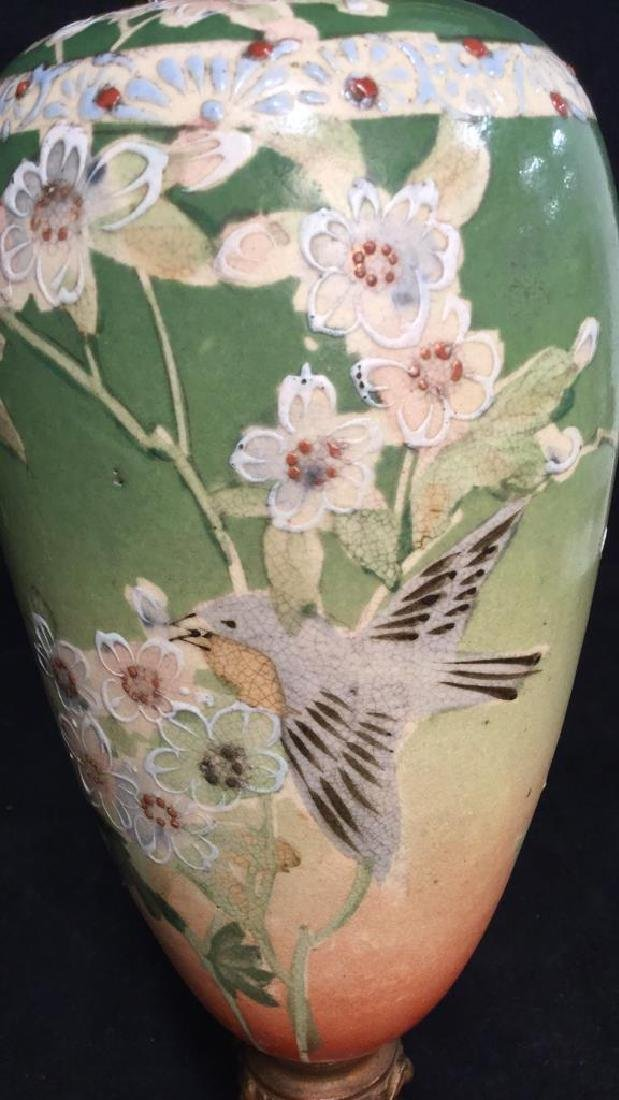 Pair Antique Satsuma Victorian Urns C1890 - 7
