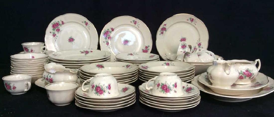87 Pieces Rose Patterned China Set, Poland