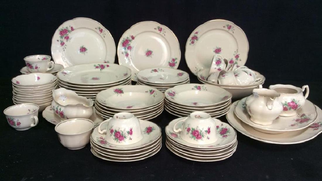 87 Pieces Rose Patterned China Set, Poland - 2