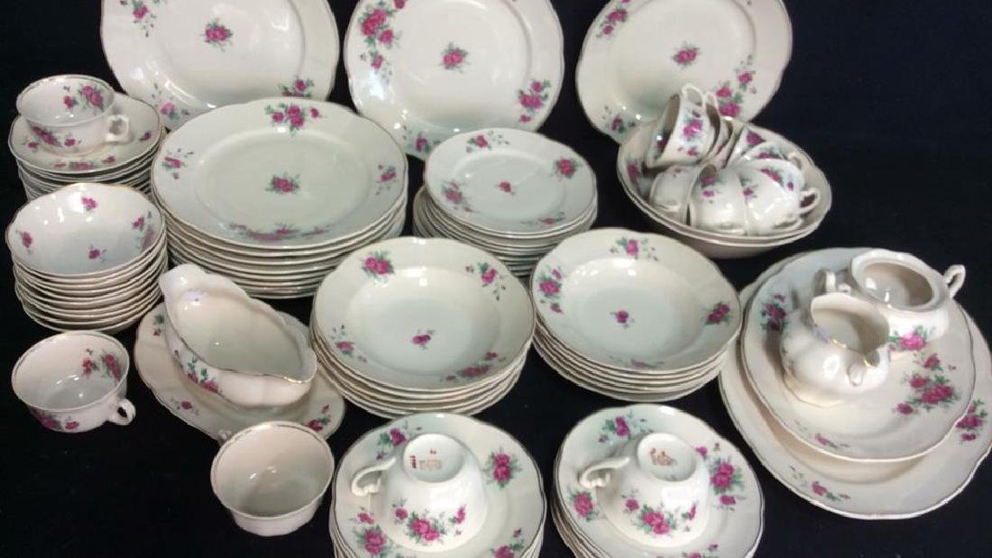 87 Pieces Rose Patterned China Set, Poland - 3