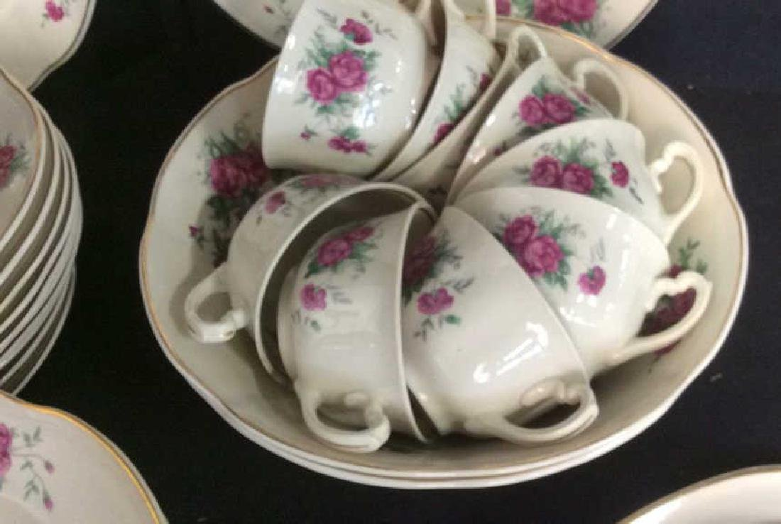 87 Pieces Rose Patterned China Set, Poland - 9