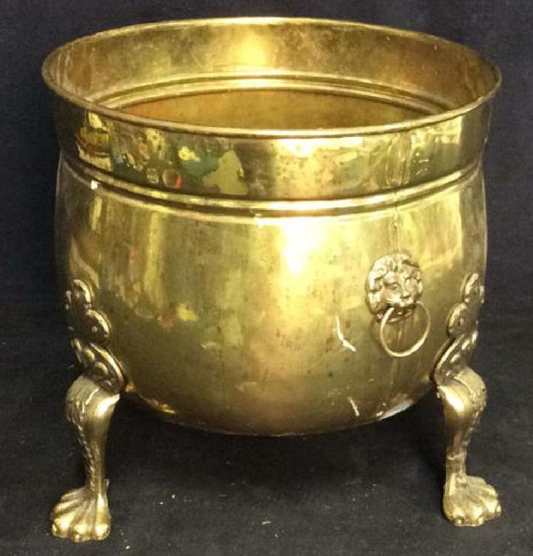 Claw Footed Brass Cauldron Pot w Lion Heads