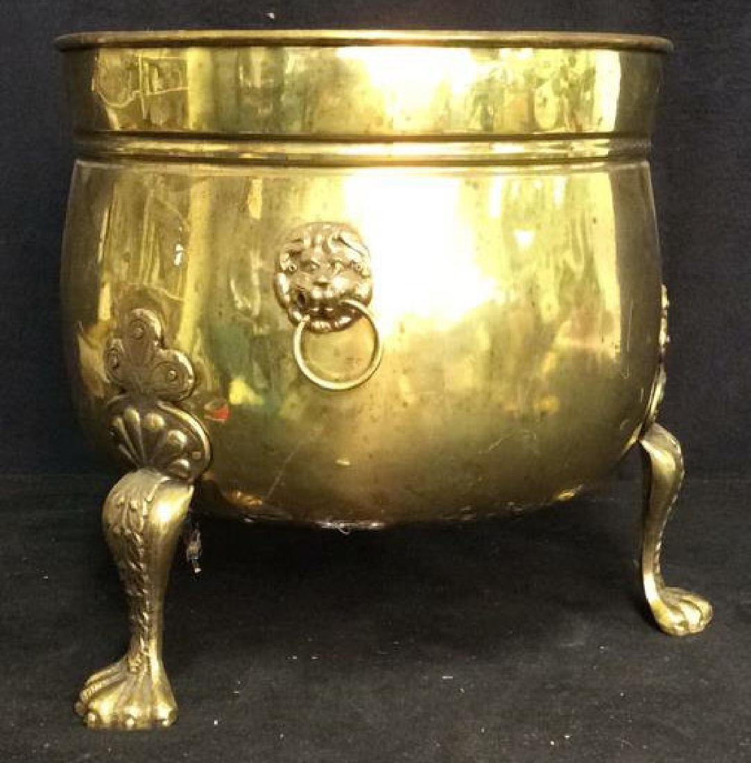 Claw Footed Brass Cauldron Pot w Lion Heads - 2