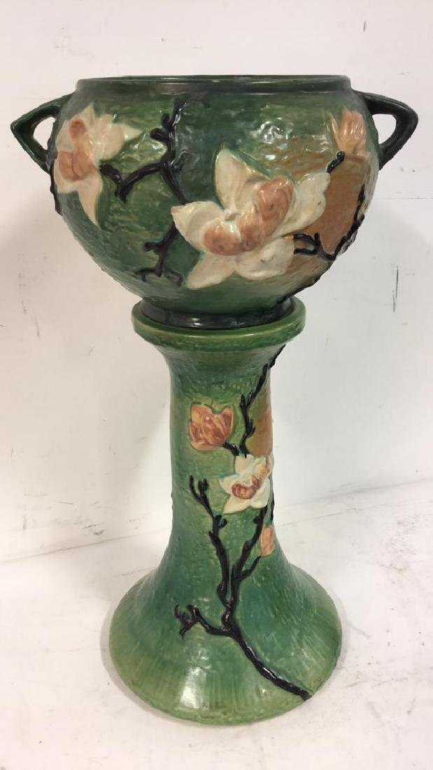 Antique Roseville Planter And Stand C 1930s - 10