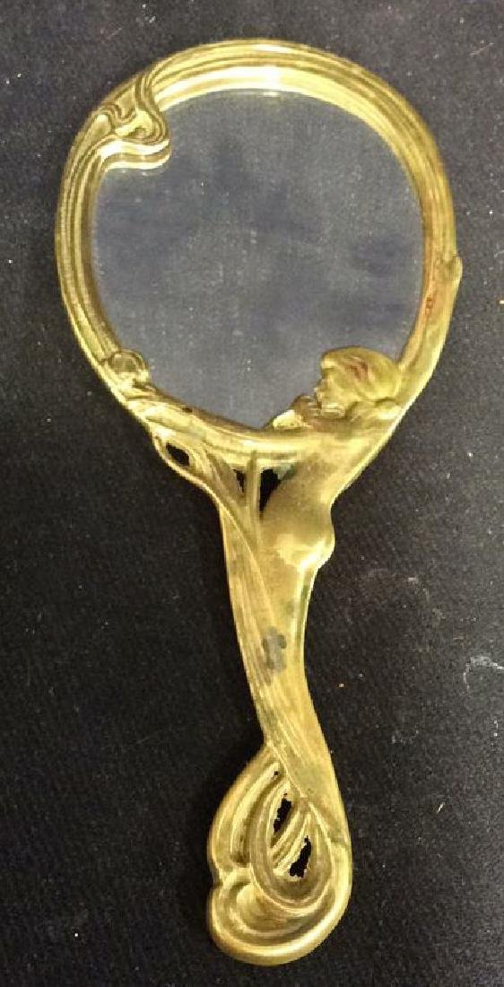 Art Nouveau Nude Female Form Hand Mirror