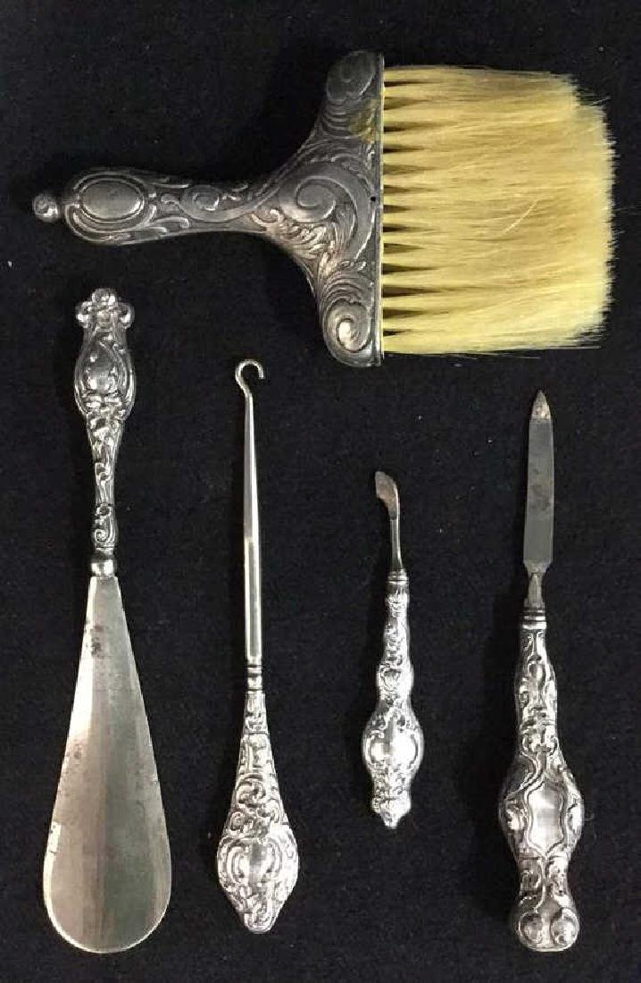 Antique Sterling & SP Ladies Dressing Accessories