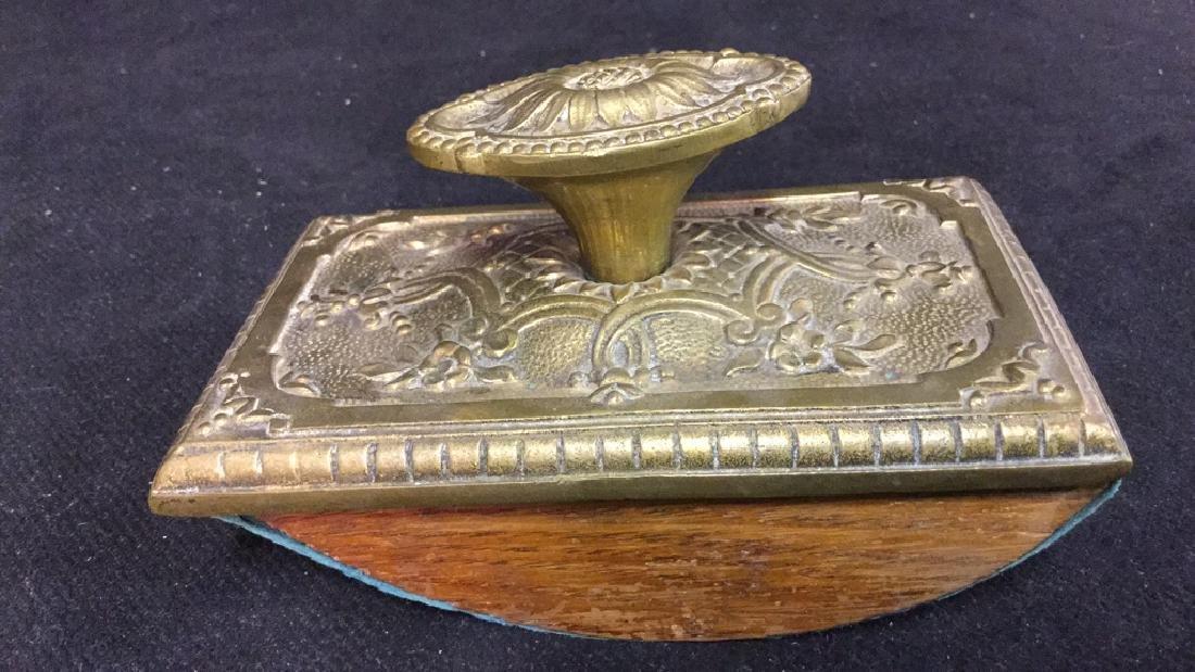 Antique Ink Blotter W Brass Toned Metal Top. - 3
