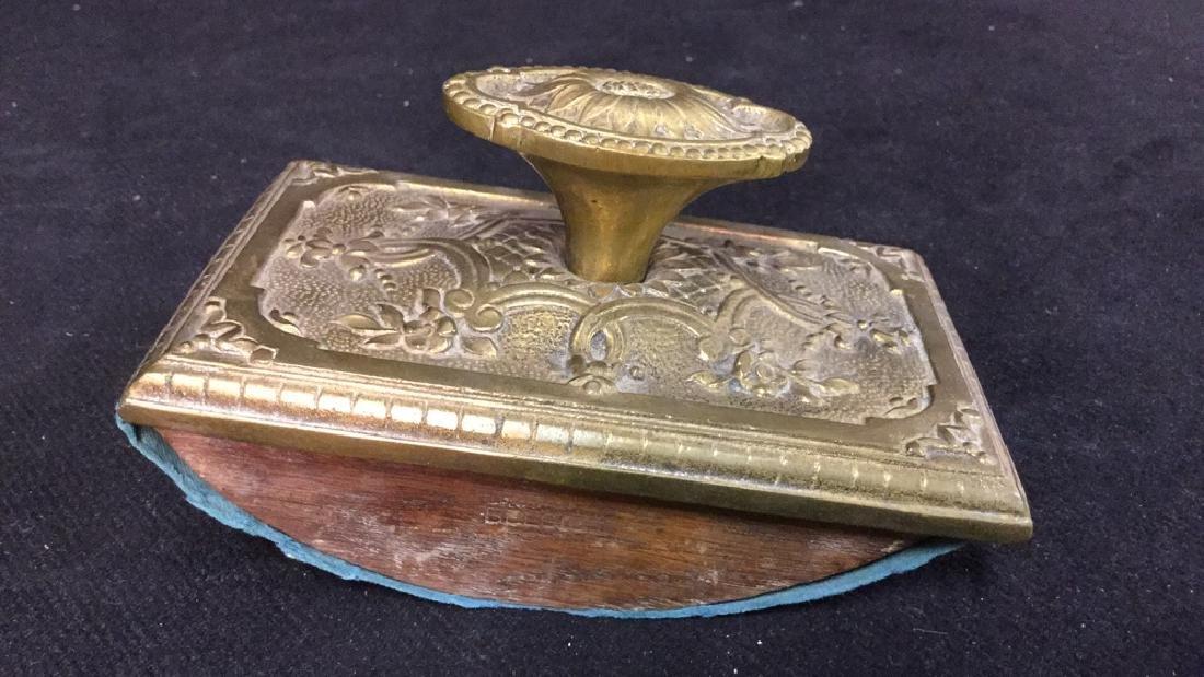 Antique Ink Blotter W Brass Toned Metal Top. - 4