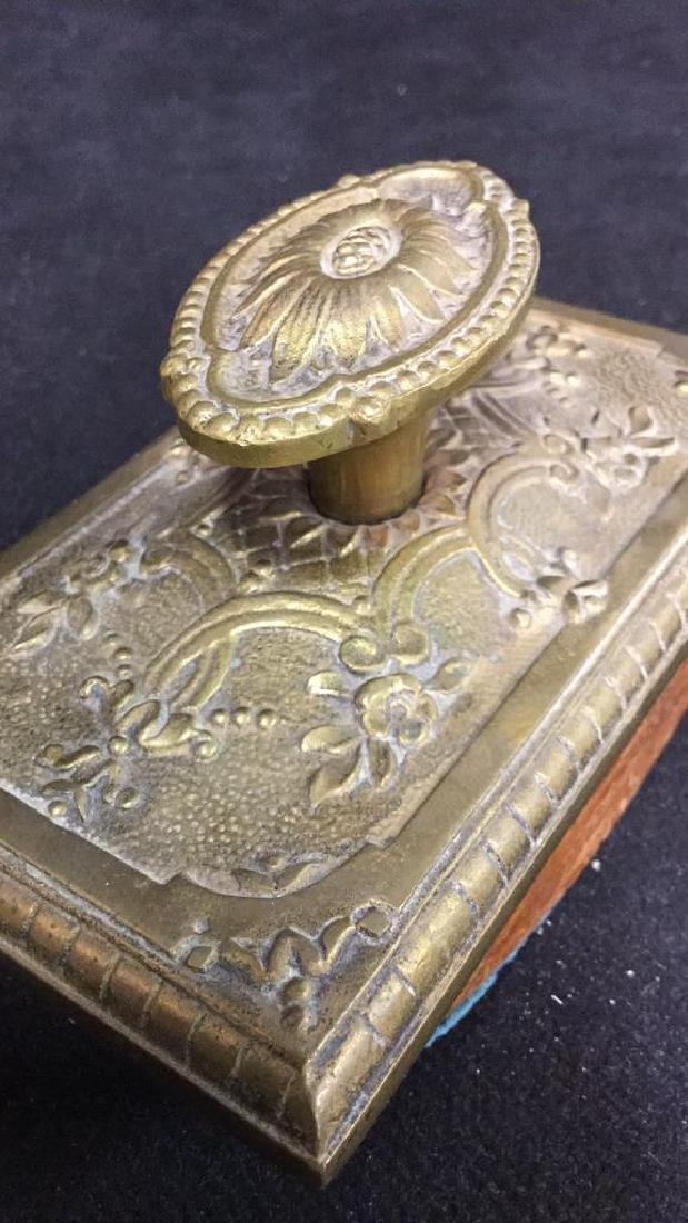 Antique Ink Blotter W Brass Toned Metal Top. - 6