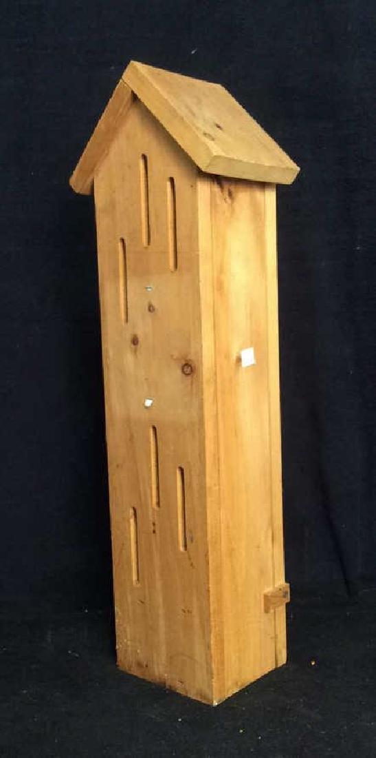Hand Carved Wood Birdhouse Feeder