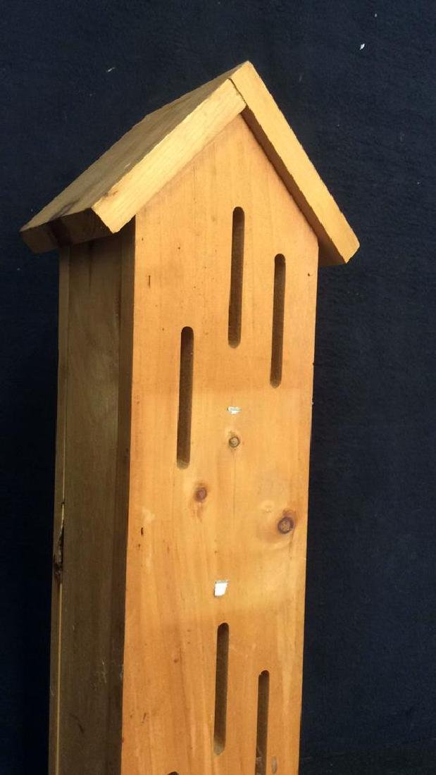Hand Carved Wood Birdhouse Feeder - 4