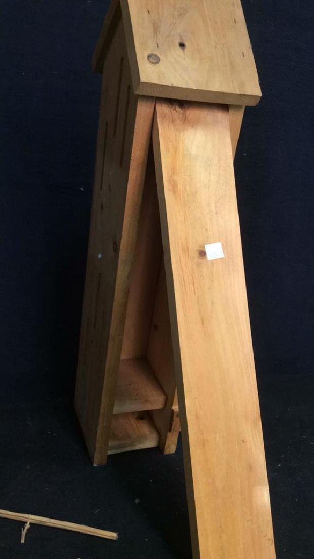 Hand Carved Wood Birdhouse Feeder - 5