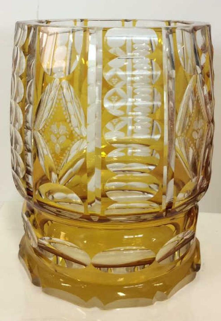 Yellow Toned Cut Crystal Bohemia Vase