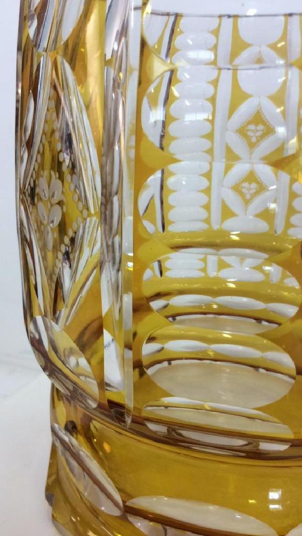 Yellow Toned Cut Crystal Bohemia Vase - 2