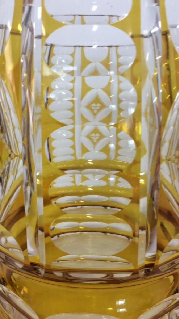 Yellow Toned Cut Crystal Bohemia Vase - 3