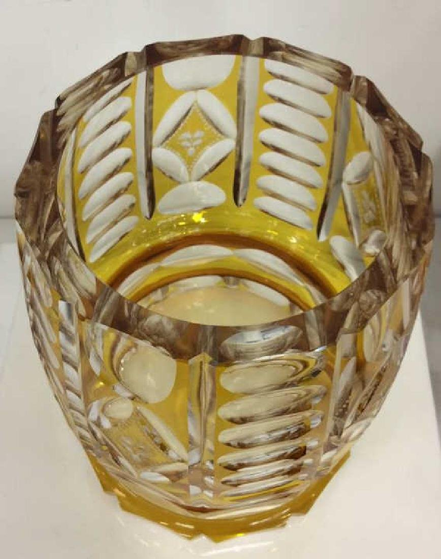 Yellow Toned Cut Crystal Bohemia Vase - 4