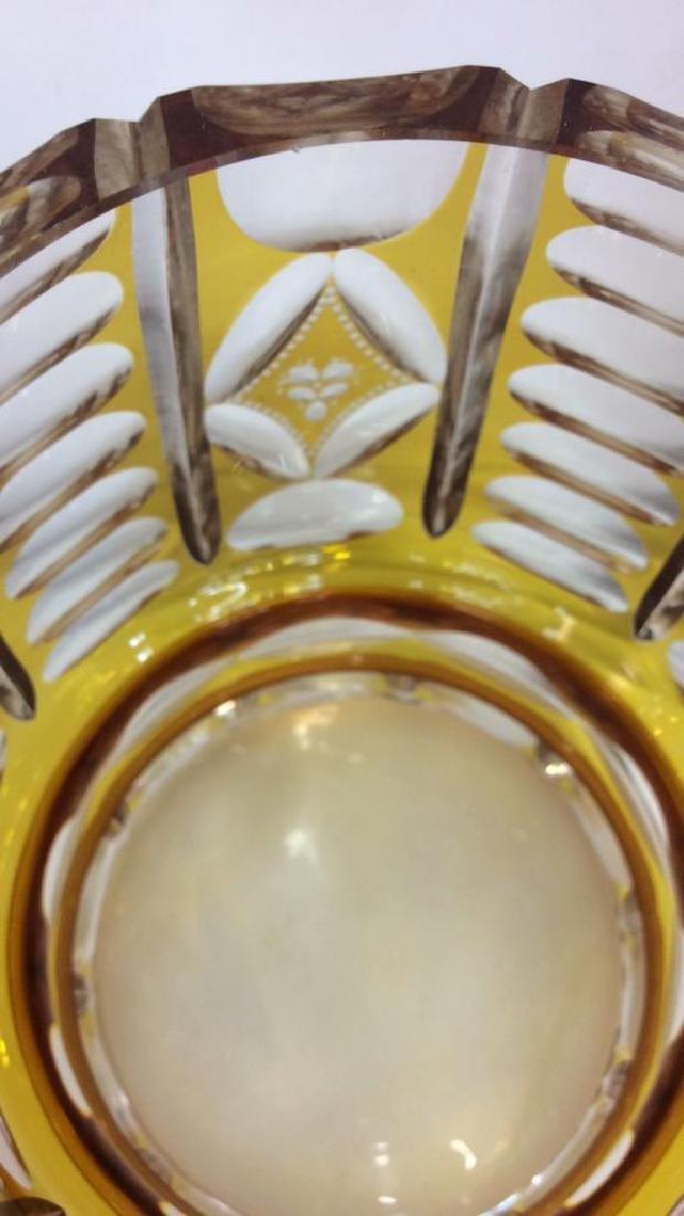 Yellow Toned Cut Crystal Bohemia Vase - 5