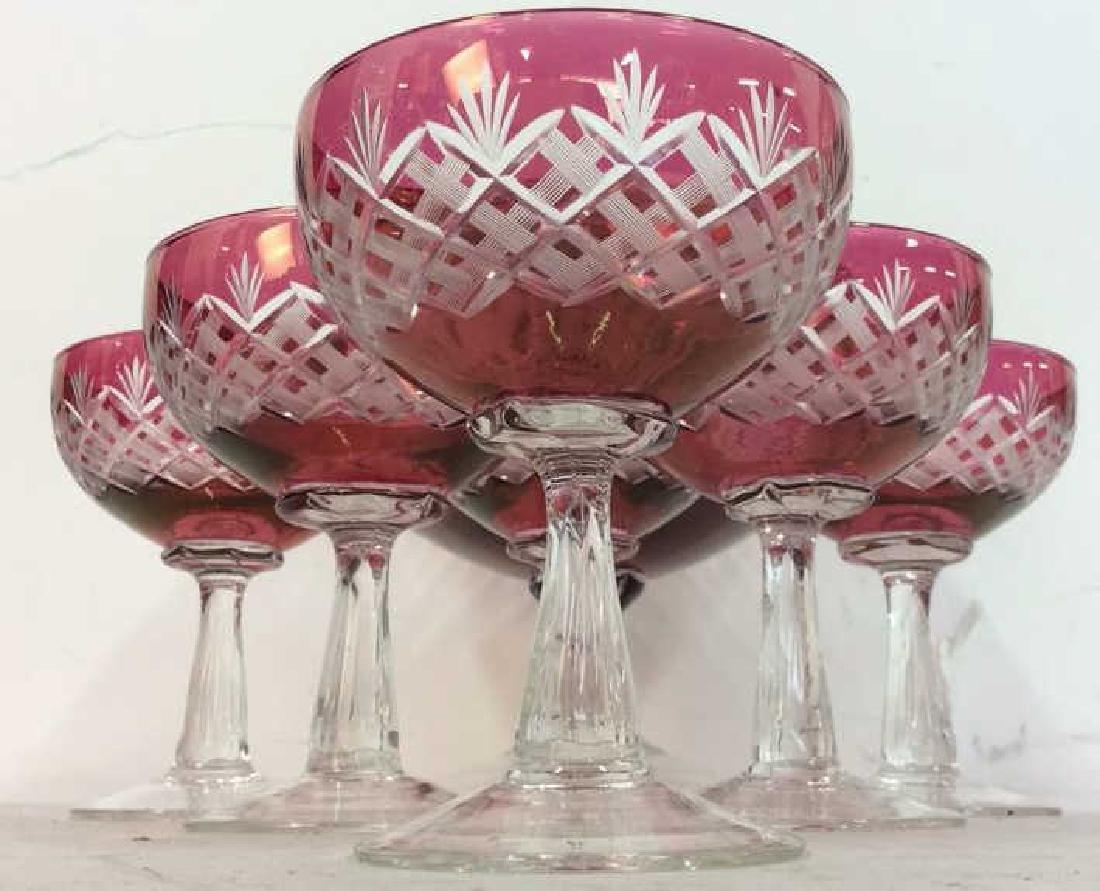 Set 6 Hand Blown Stem & Crystal Bowl Glasses - 8