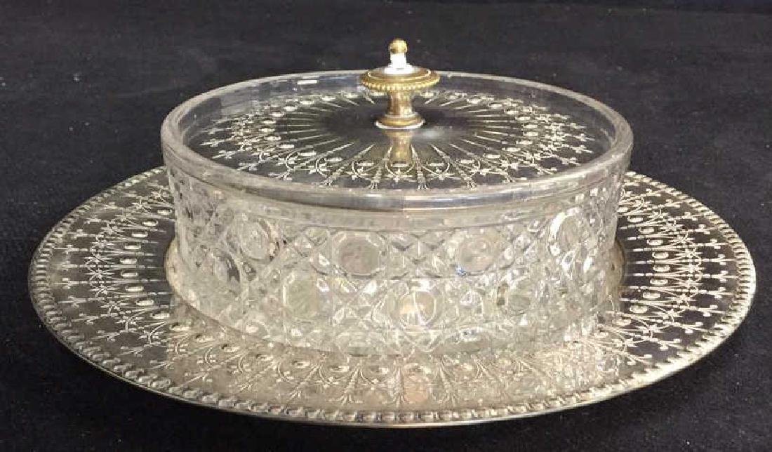 Antique English Crystal Silver Pl Butter Dish - 2