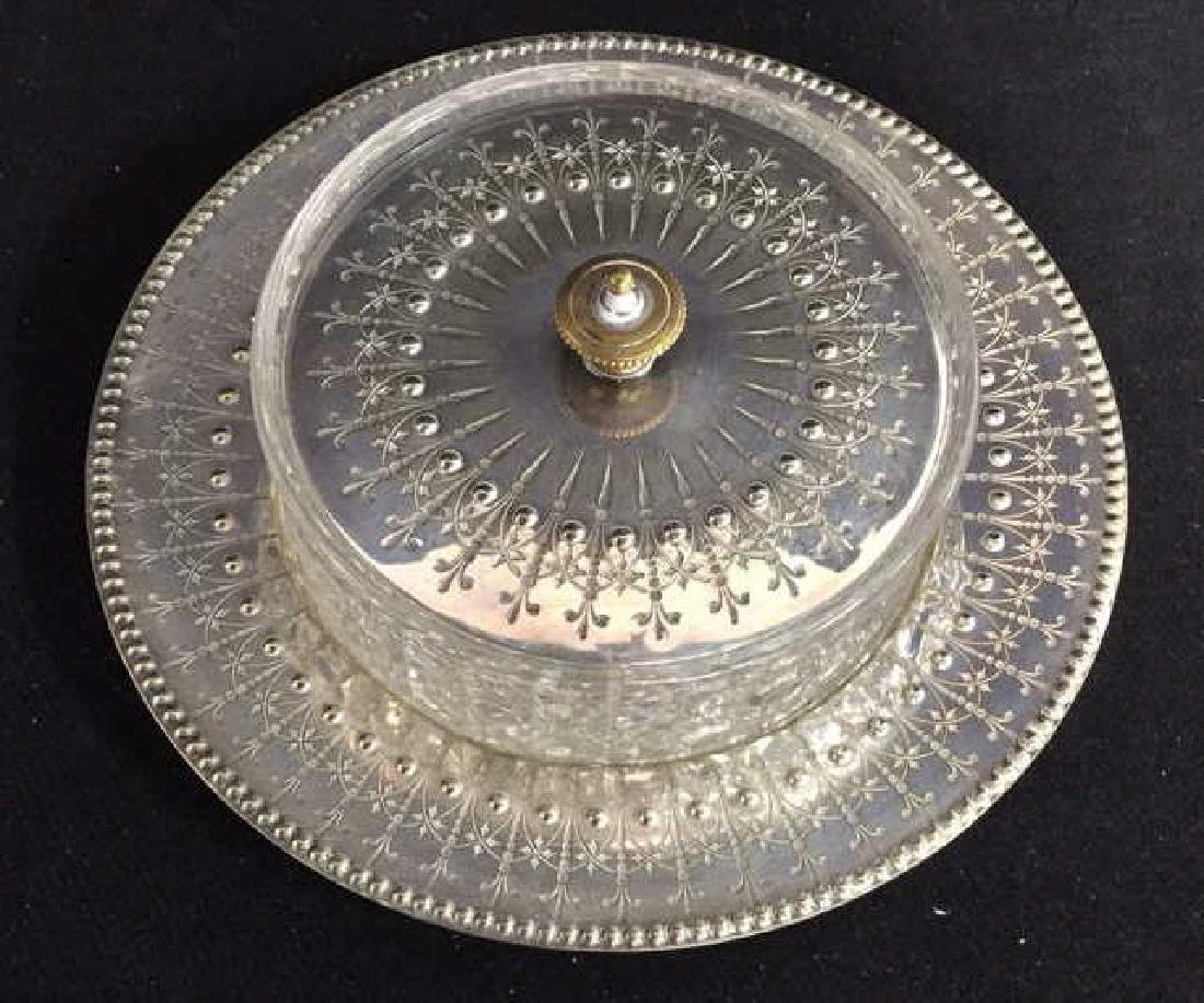 Antique English Crystal Silver Pl Butter Dish - 3