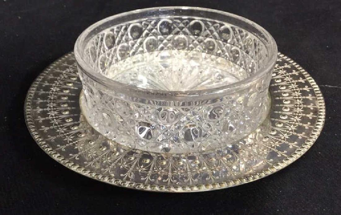 Antique English Crystal Silver Pl Butter Dish - 9