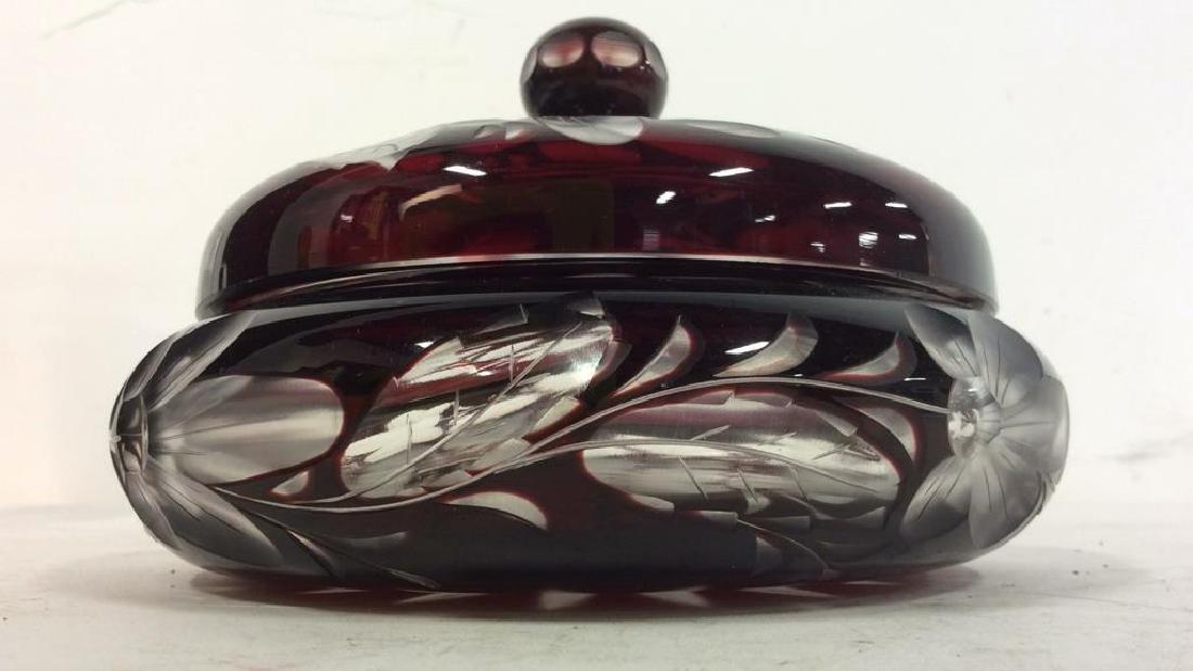 Cherry Toned Bohemian Glass Trinket Dish W Lid - 10