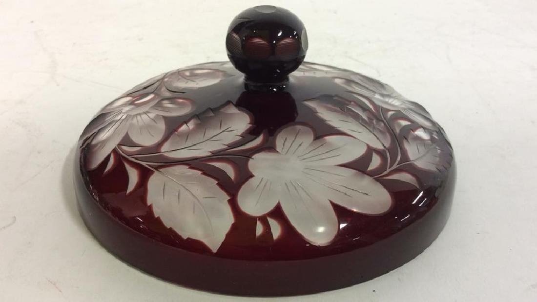 Cherry Toned Bohemian Glass Trinket Dish W Lid - 6