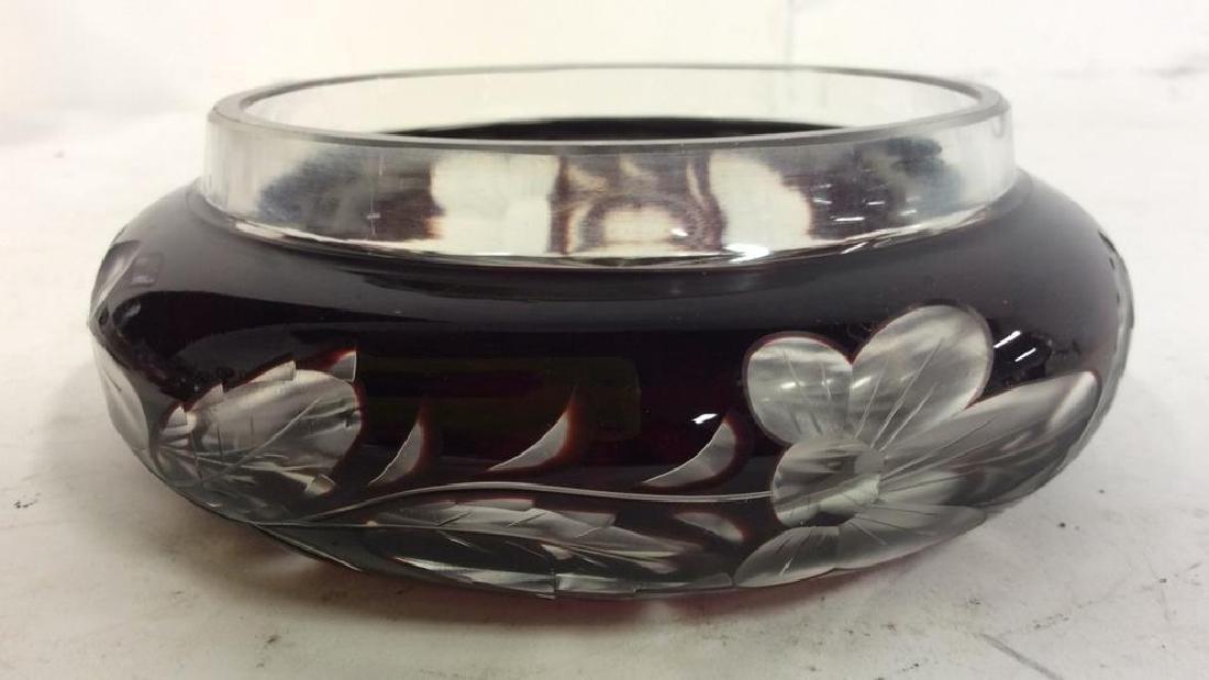 Cherry Toned Bohemian Glass Trinket Dish W Lid - 7