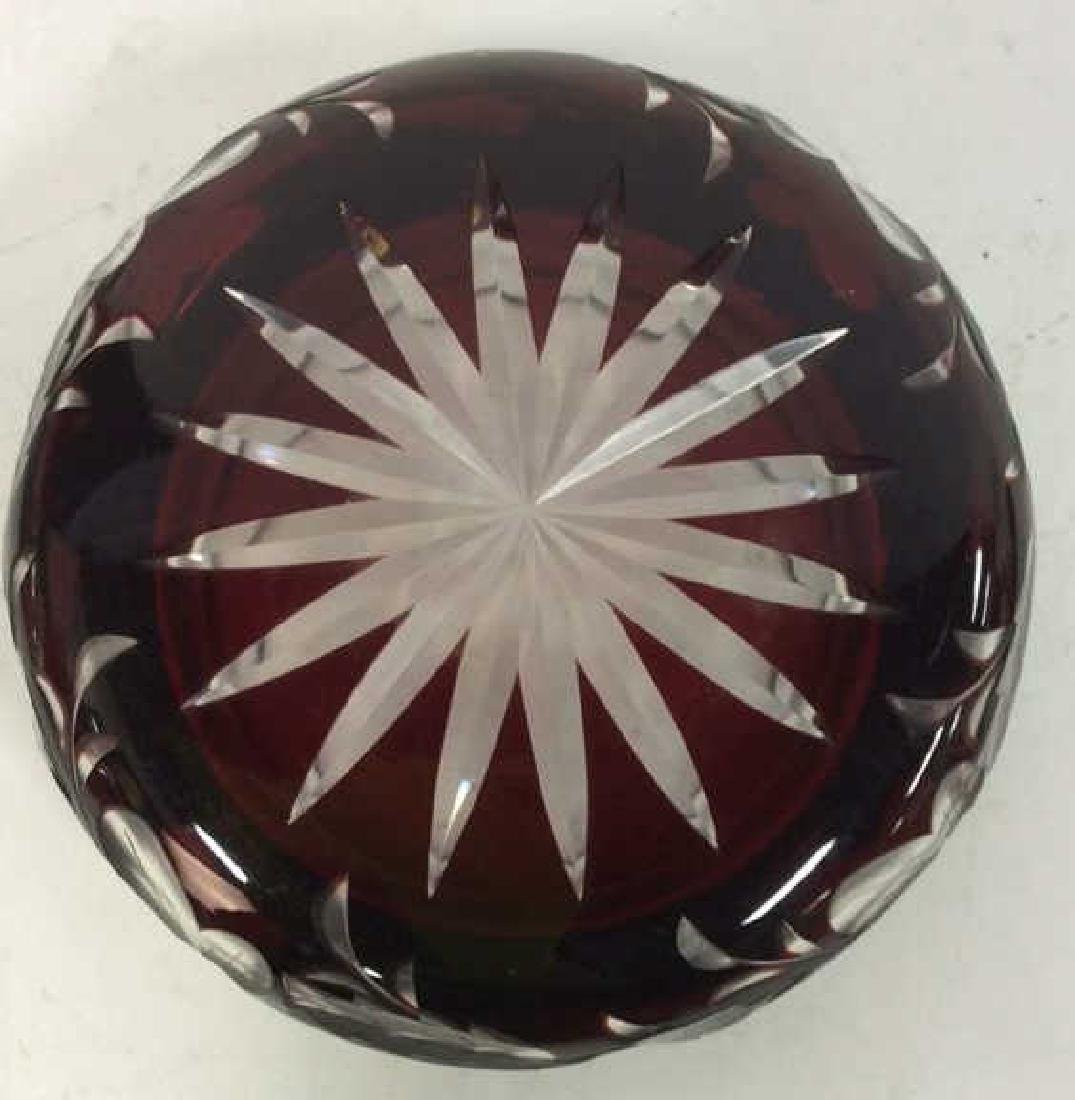 Cherry Toned Bohemian Glass Trinket Dish W Lid - 8
