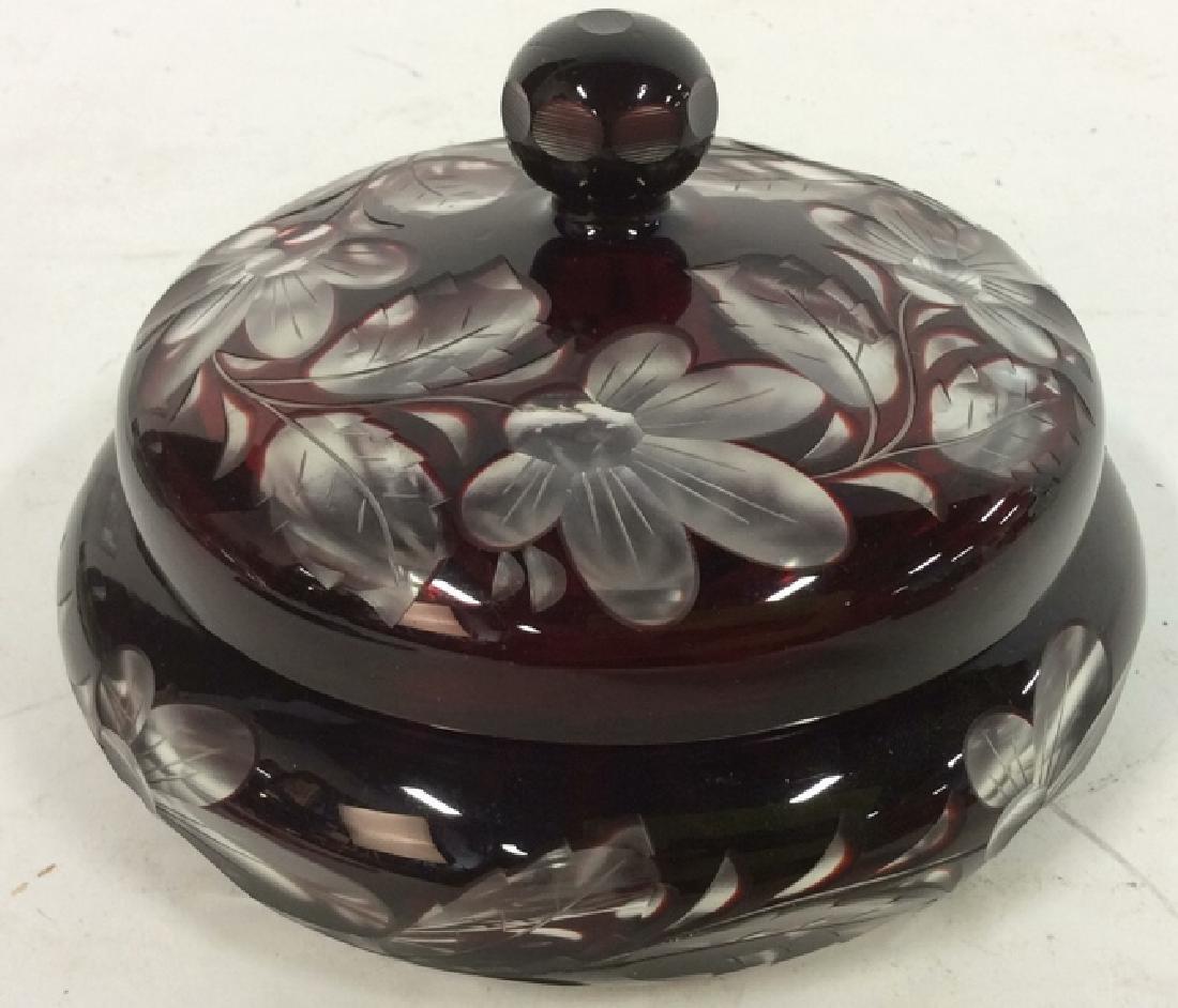 Cherry Toned Bohemian Glass Trinket Dish W Lid - 9