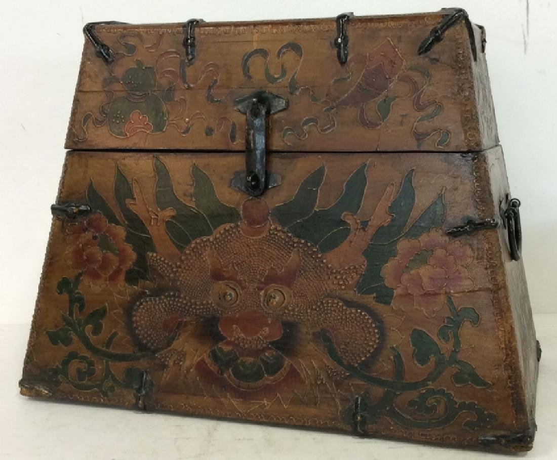 Antique Metal Wooden Painted Tibetan Box Chest