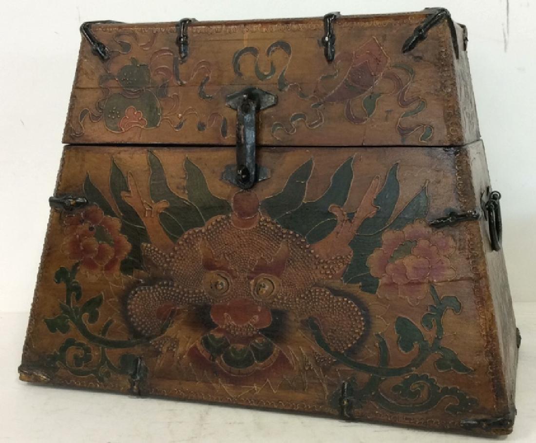 Antique Metal Wooden Painted Tibetan Box Chest