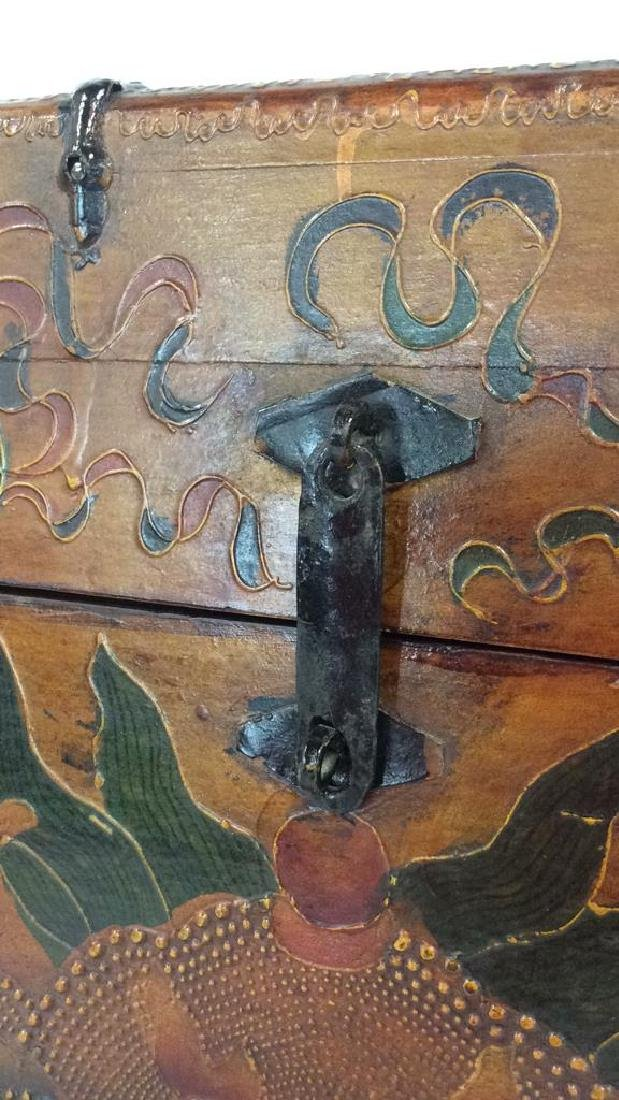 Antique Metal Wooden Painted Tibetan Box Chest - 4