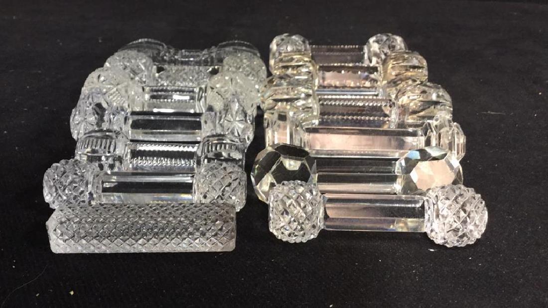Collection Antique Vintage Cut Crystal Knife Rests - 2