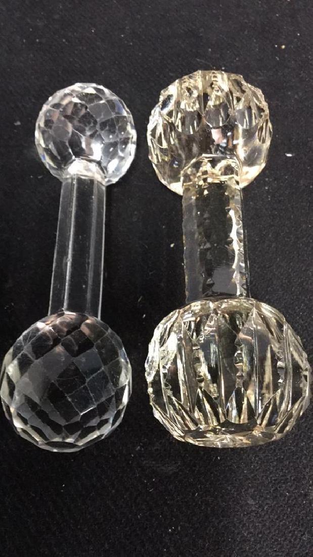 Collection Antique Vintage Cut Crystal Knife Rests - 6