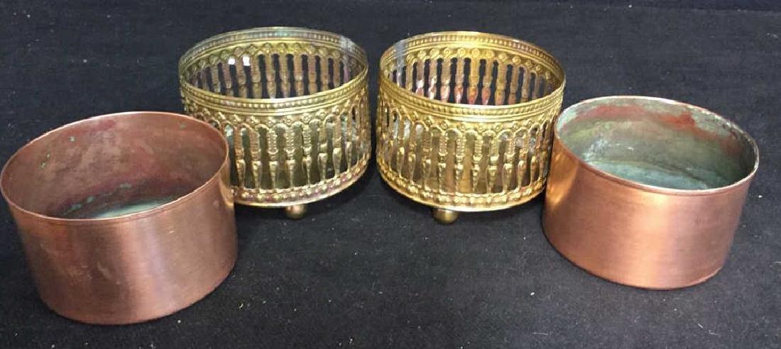Pair Copper Inset Brass Filligree Wine Coasters