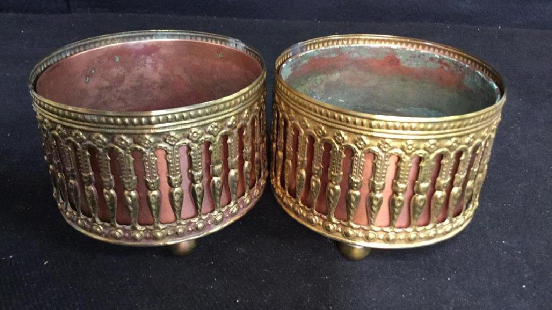 Pair Copper Inset Brass Filligree Wine Coasters - 2
