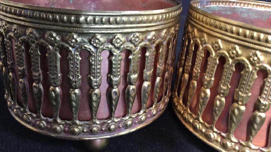 Pair Copper Inset Brass Filligree Wine Coasters - 4
