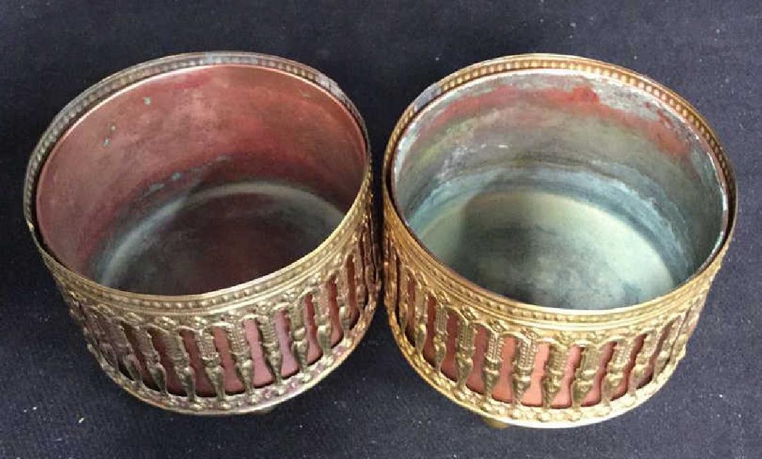 Pair Copper Inset Brass Filligree Wine Coasters - 5