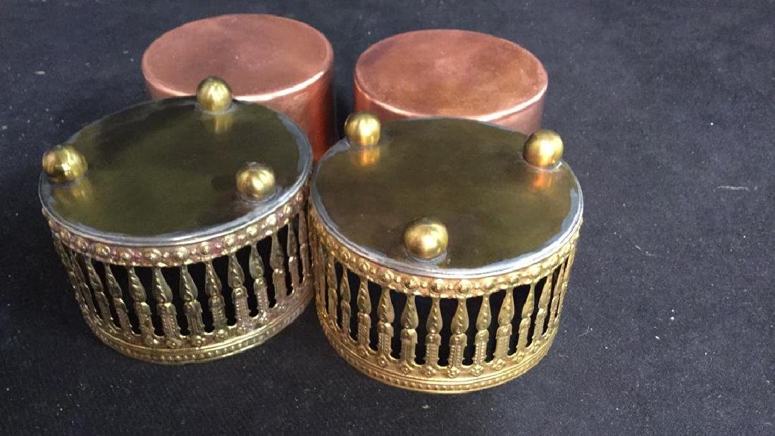 Pair Copper Inset Brass Filligree Wine Coasters - 6