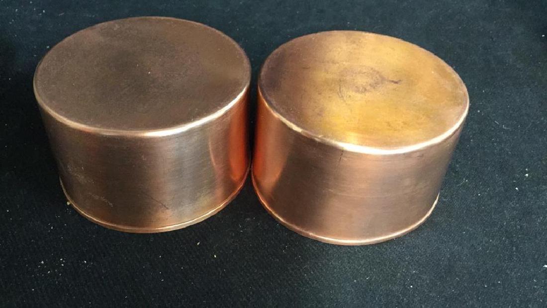Pair Copper Inset Brass Filligree Wine Coasters - 7