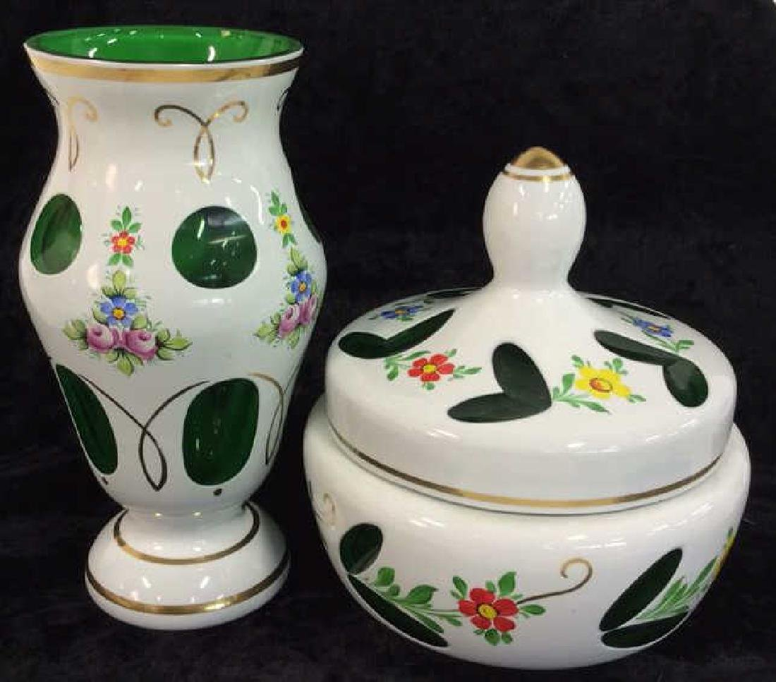 Pair Bohemia Art Glass Vase & Lidded Bowl