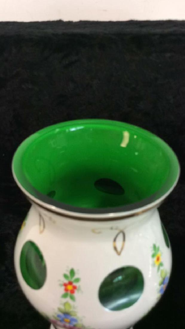 Pair Bohemia Art Glass Vase & Lidded Bowl - 5