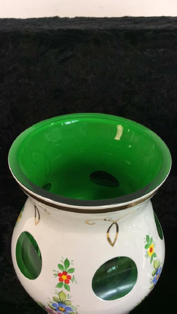 Pair Bohemia Art Glass Vase & Lidded Bowl - 6