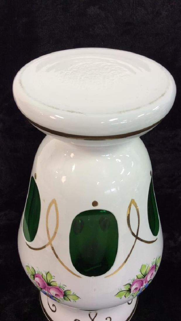 Pair Bohemia Art Glass Vase & Lidded Bowl - 7