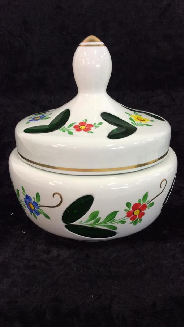 Pair Bohemia Art Glass Vase & Lidded Bowl - 8
