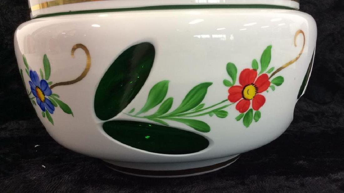 Pair Bohemia Art Glass Vase & Lidded Bowl - 9